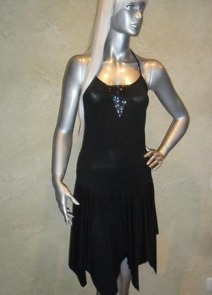 Нарядное с бисером черное вискозное латина платье миди pilot xs-s 10