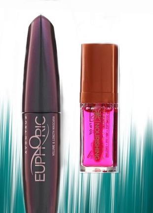 Набор euphoric makeup set (mascara тушь+ блеск lip/oil)