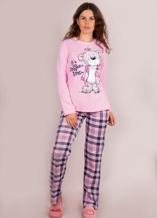 Тёплая пижама, женская пижама, пижама с медвежонком