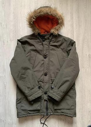 Крутая парка easy цвета хакки, курточка зимняя