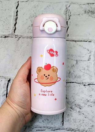 Термос термокружка мишка термочашка, розовый, 350 мл
