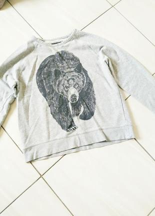 Стильний светр худі сірий з ведмедем