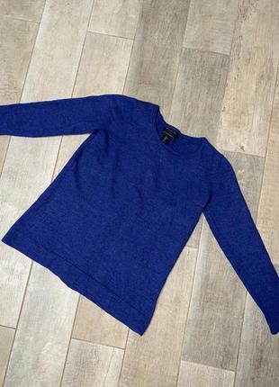Синий шерстяной пуловер,пуговицы,шерсть мериноса