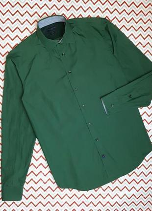 😉1+1=3 шикарная изумрудная приталенная рубашка сорочка tommy hilfiger, размер 48 - 50