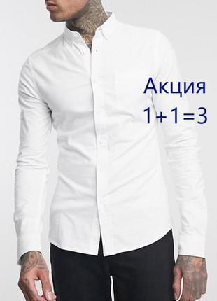 😉1+1=3 стильная базовая белая рубашка сорочка с длинным рукавом canda, размер 44 - 46