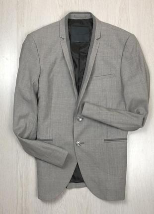 F9 пиджак приталенный серый шерстяной zara man зара