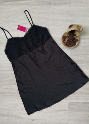 Женская ночная рубашка, атласный пеньюар с кружевом