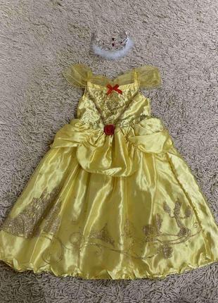 Платье белль с короной на 3-4года