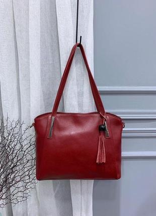 Женская кожаная сумка с длинными ручками,сумка красная на плечо,жіночі сумки