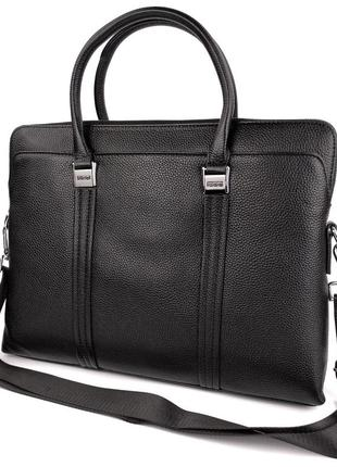 Мужская кожаная сумка портфель для ноутбука, документов, а4