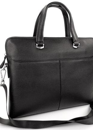 Кожаная мужская сумка портфель для ноутбука, офиса, документов, а4