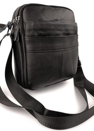 Мужская кожаная сумка через плечо черная, мужские сумки из кожи
