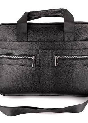 Мужская кожаная сумка портфель для ноутбука черная, а4, документов