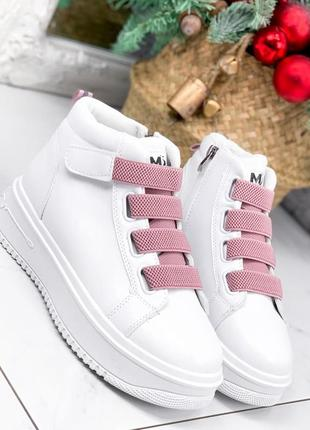 Высокие кеды nies белые + розовый