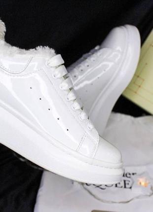 Женские mcqueen white gloss fur3 фото