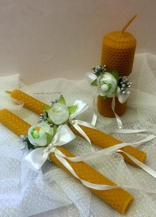 """Комплект свадебных свечей  из натуральной вощины для обряда """"семейный очаг""""."""