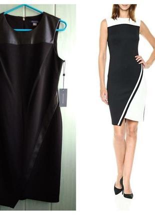Tommy hilfiger стильное черное платье с отделкой из кожзама, новое из сша
