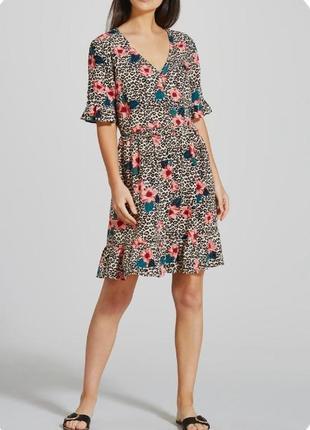 Платье миди в цветочный и леопардовый  принт papaya p.s