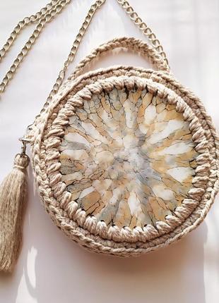 Авторская сумка ручной работы дизайнерская вязаная с эффектом мрамора круглая