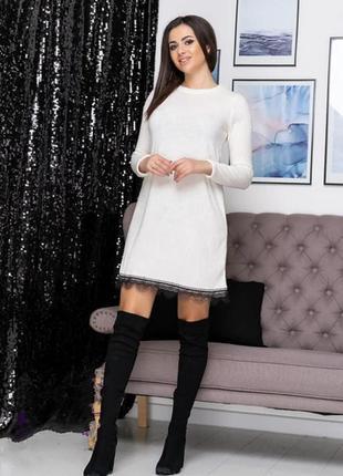 Платье свободного кроя  с кружевом ангора