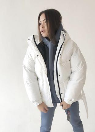 Пуховик куртка на поясе курточка
