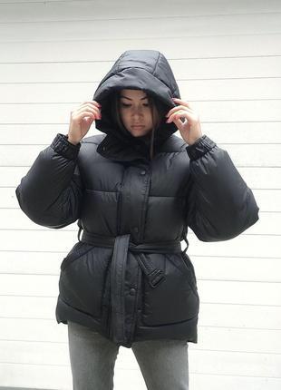 Пуховик куртка на поясе