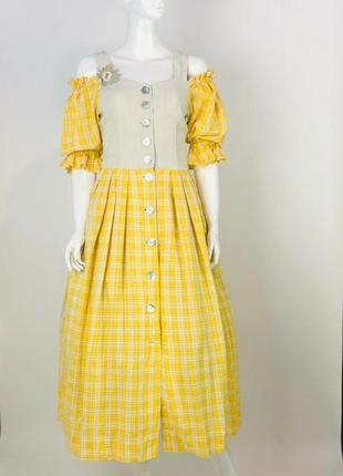 Солнечное платье лён с перламутровыми пуговичками