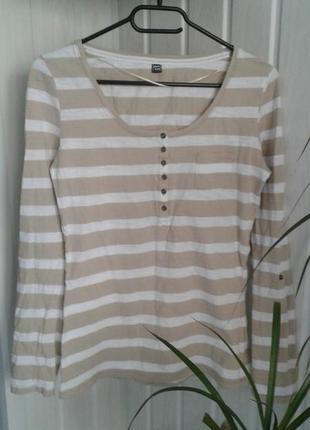 Лонгслив футболка с длинным рукавом полосатая хлопок р м