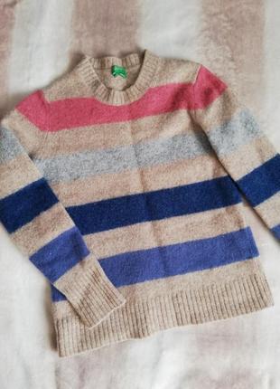 Шерстяной свитер от united colors of beneton в полоску