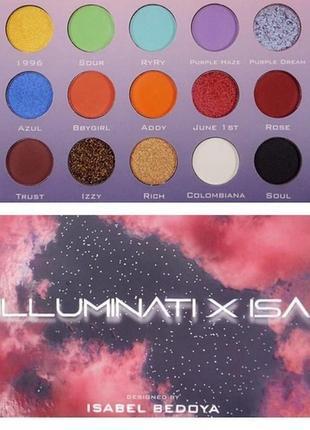 Яркая палетка теней illuminati cosmetics - illuminati x isa eyeshadow palette из сша