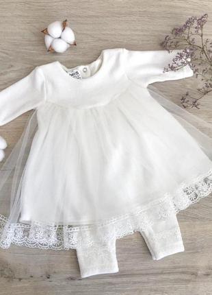 Крестильный набор костюм для девочки крестильное платье новое