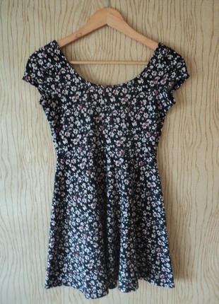 Платье цветочный принт черное трикотажное petite коротким цветы скейтер мини короткое