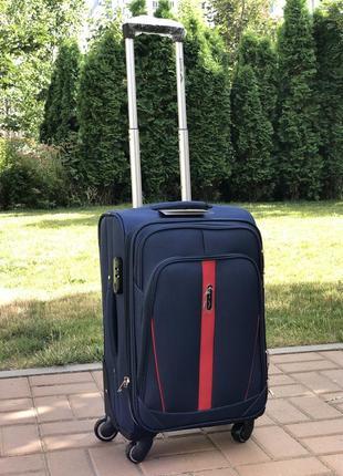 Дорожный тканевой чемодан на 4 колесах wings 1706. ручная кладь