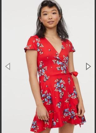 Красное летнее  платье на запах в цветочный принт h&м