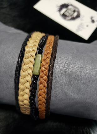 Мужской браслет из натуральной итальянской кожи