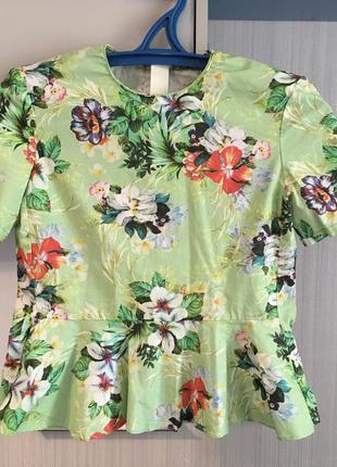 Блуза с баской, цветочный принт, zara