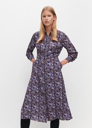 Стильное миди платье рубашка reserved на пуговицах.
