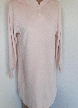 Плюшевое платье для дома пудрового цвета