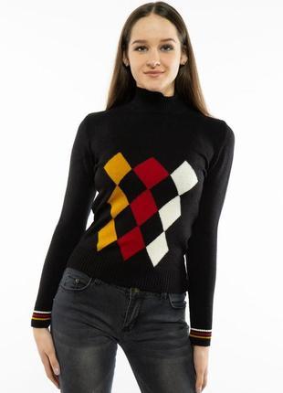 Гольф свитер женский геометрический принт