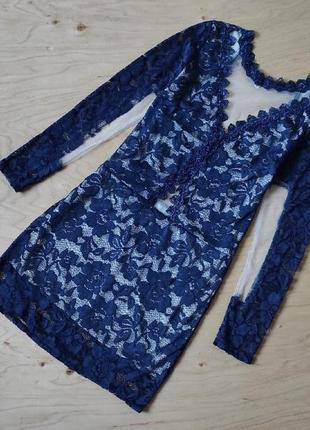 Вечернее  платье миди с кружевом сеточка