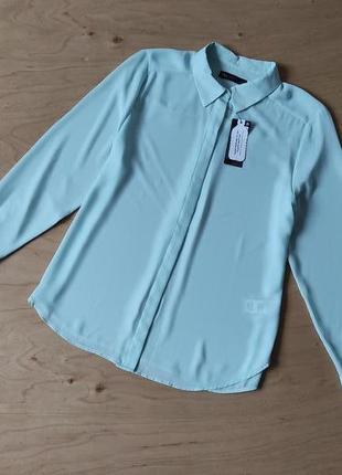 Блузка рубашка  шифоновая  новая  marks & spencer мятного цвета