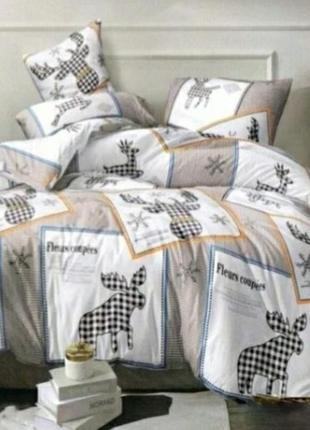 Двуспальный комплект постельного белья, постельное олени, бязь годд