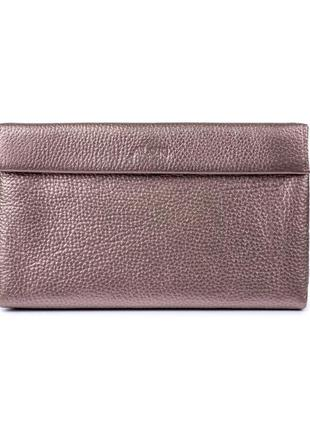 Косметичка-клатч женская розового цвета, натуральная кожа с перламутровым напылением3 фото