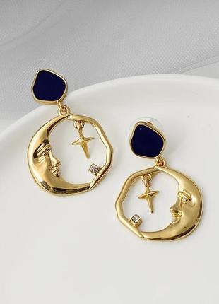 Серьги подвески золотистые луна крестик сережки под золото ретро винтаж кульчики