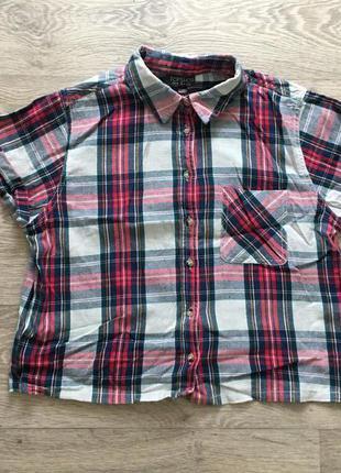 Укороченная рубашка в клетку topshop кроп топ top shop