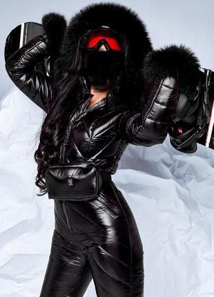 Комбинезон чёрный с варежками (лыжный)