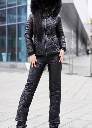 Тёплый чёрный зимний костюм с утеплителем