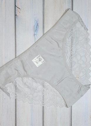 Базовые серые трусы трусики хлопок в сердечки с кружевом сзади, размер 48 - 50