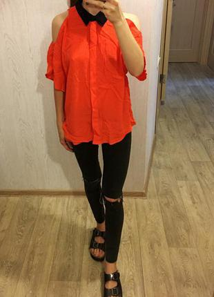 Оранжевая овесайз свободная рубашка asos с вырезами на плечах и спине oversize