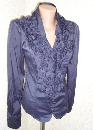 Синяя блуза стрейч